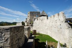 Celje medieval castle in Slovenia. Walls and keep tower of Celje medieval castle in Slovenia Stock Photos