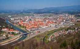 Celje stad, panorama, Slovenien Fotografering för Bildbyråer