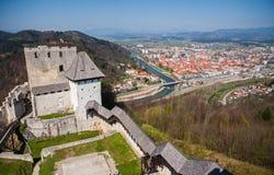 Celjekasteel, Slovenië Stock Foto's