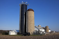 Cell antennas mounted on the top of the silo Stock Photography