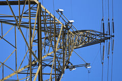 Cell antennas mounted on the utility tower Royalty Free Stock Image