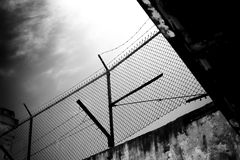 Barbed Wire Overhead View from Alcatraz Island Prison Royalty Free Stock Photography