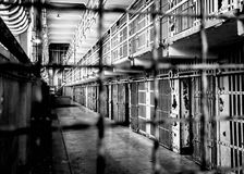 Cell block in Alcatraz prison stock image