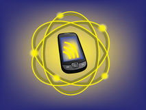 Cell communication. Illustration: mobile phone connecting to network Stock Photography