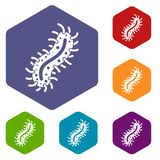 Cell of dangerous virus icons set Stock Images