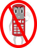 Cell Guy No Phones. Personified cell phone in a stop position in a red circle. EPS file available Stock Photography