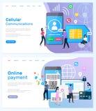 Cell- kommunikation och online-betalningWebsite royaltyfri illustrationer
