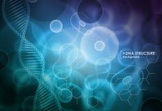 Cell och DNAbakgrund Molekylär forskning royaltyfri illustrationer