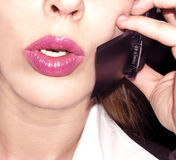 Cell phone. Close-up of a businesswoman having a conversation Royalty Free Stock Photo