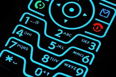 Cell Phone. This is a picture of a popular cell phone keypad lite up Stock Images