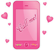 Cell phone. Pink cell phone. Eps 10 Royalty Free Stock Image