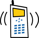 Cell phone. Illustrated cell phone ringing on white background Stock Photo