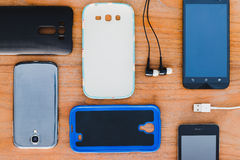 Cell phone and accessories Royalty Free Stock Image