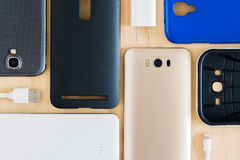 Cell phone and accessories Stock Photo