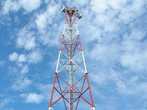 Cell phone antenna tower. A cell phone antenna tower in Romania used for 3G royalty free stock images