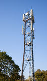 Cell phone antenna tower. A cell phone antenna or aerial tower used for GSM and UMTS mobile phone transmissions stock image