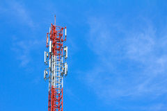 Cell Phone Antenna Tower in blue sky Stock Photography