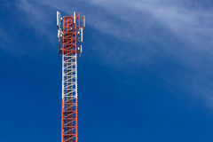 Cell Phone Antenna Tower. A communications tower for mobile phone signals Royalty Free Stock Images