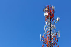 Cell Phone Antenna Tower. A communications tower for mobile phone signals Royalty Free Stock Photography
