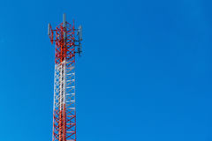 Cell Phone Antenna Tower. A communications tower for mobile phone signals Stock Photo
