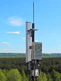 Cell phone antenna, transmitter. Telecom radio mobile antenna against blue sky Stock Photos