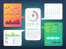 Cell phone application interface design with business infographics charts and graphs. Mobile phone ui vector eps10. Infographic for business on smartphone Royalty Free Stock Photos