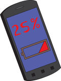 Cell phone battery charge 25%. Stock Photography