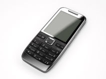 Cell phone black. A black cell phone on white background Stock Photography