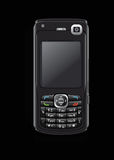 Cell phone on black. A cell phone on a black background Royalty Free Stock Images
