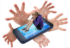 Cell Phone Bullying Social Media Data Information royalty free stock photo