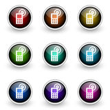 Cell phone button set. Isolated over white Stock Photos