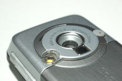 Cell phone camera. Vga camera in silber mobile phone stock photography