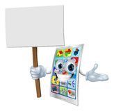 Cell phone cartoon character holding sign Stock Images