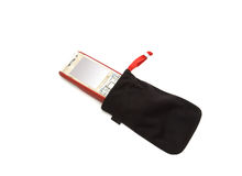 Cell phone in case. Red cell phone in case on white royalty free stock photography