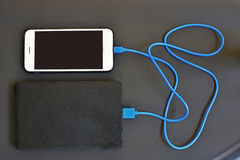 Free Cell Phone Charging With Power Bank Stock Image - 95376311