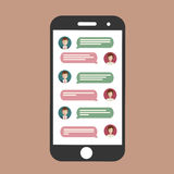 Cell phone chat. Mobile chat on line. Flat icon stock illustration