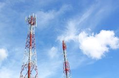 Cell phone and communication towers Stock Photos