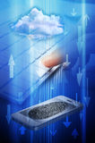Fingerprint Phone Computer Cloud Security. A technology montage of a cell phone, cloud computing, and computers and a fingerprint Royalty Free Stock Images