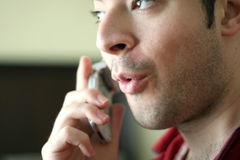 Cell phone convo Stock Photo
