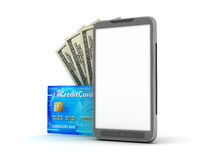 Cell phone, credit card and dollar bills Stock Photos