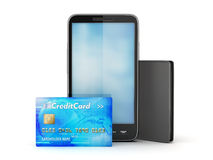Cell phone, credit card and leather wallet Royalty Free Stock Photography