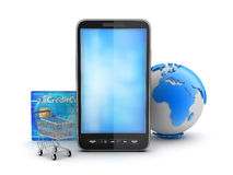 Cell phone, credit card, shopping cart and earth globe Stock Photography