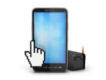 Cell phone, cursor hand and mailbox. On white background Royalty Free Stock Photos