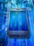Cell Phone Mobile Data Smartphone. A cellphone with arrows meaning data traffic or communications on a circuit background Royalty Free Stock Photography