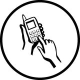 Cell phone dialing vector illustration. Vector illustration of two hands dialing in a cell phone Stock Photography