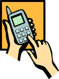 Cell phone dialing vector illustration. Vector illustration of two hands dialing in a cell phone Stock Photo