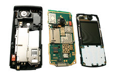 Cell phone disassembled. Royalty Free Stock Photos