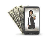 Cell phone and dollar bills Stock Images