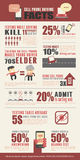 Cell Phone Driving Facts Infographics Stock Photos