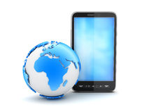 Cell phone and earth globe. On white background Royalty Free Stock Images